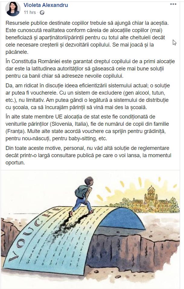 """Violeta Alexandru, Ministrul Muncii, vine cu o soluție pentru ca alocațiile copiilor să nu mai fie jucate la """"păcănele"""""""