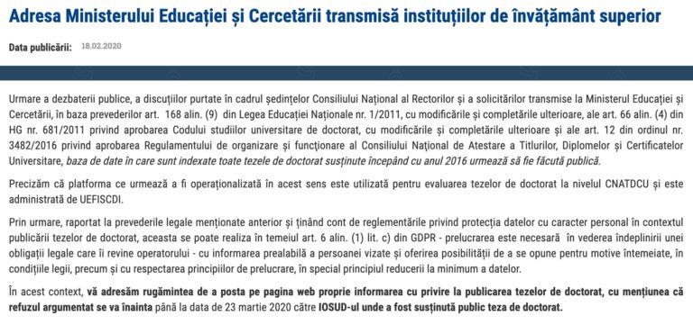 Ministerul  Educației ii protejează pe plagiatori : tezele de doctorat din 2016 până în prezent vor fi făcute publice doar dacă autorul e de acord
